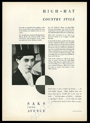 1931 women's hunting top hat photo Saks Fifth Avenue Tally Ho vintage print ad