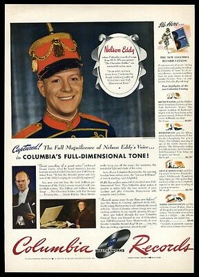 1942 Nelson Eddy photo Columbia Records vintage print ad