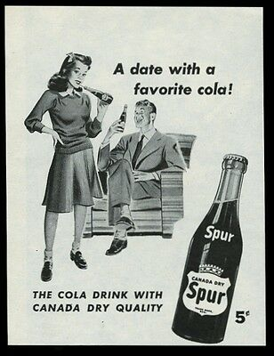 1945 Canada Dry Spur cola young couple art vintage print ad