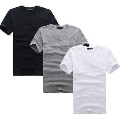 Simple Mens V Neck Simple Cotton T-shirt Slim Fit Short Sleeve Summer Clothes
