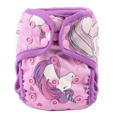 2018 NEWBORN Cloth Diaper Cover Baby Nappy Reusable 2 Gusset 8-10lbs Unicorn