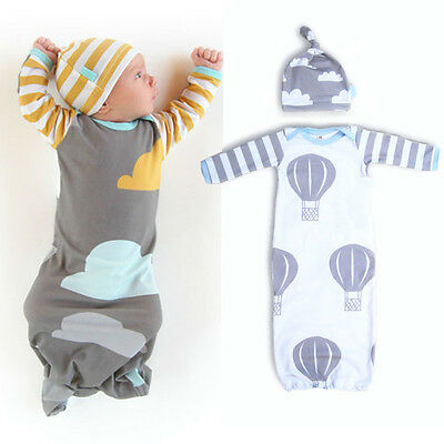 New Infant Baby Kids Cotton Swaddle Sleeping Bag Sleepsuit Blanket+Hat 0-12Month