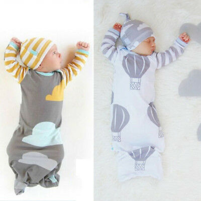 UK 0-12M Newborn Baby Boys Girls Infant Swaddle Wrap Blanket Sleeping Bag + Hat