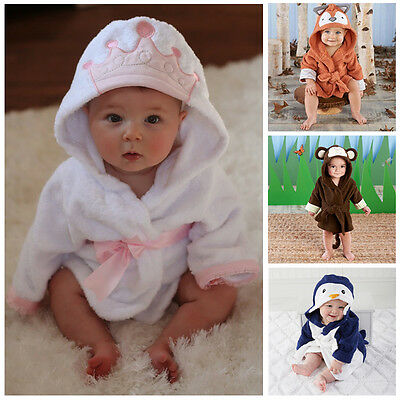 Cute Infant Baby Girl Boy Hooded Bath Towel Wrap Bathrobe Bathing Blanket Throws