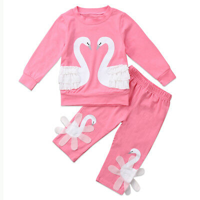 Child Kids Baby Girls Swan Top T-shirt Long Pants Tracksuit Outfit Clothes Sets
