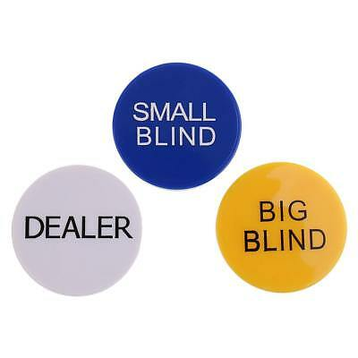 3pcs/Set Small Blind+Big Blind+Dealer Button Casino Grade Game Supplies 5cm