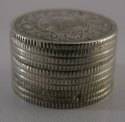 ANGLO INDIAN SOLID SILVER 1/4 RUPEE SECRET BOX PILE OF COINS ANTIQUE c1920
