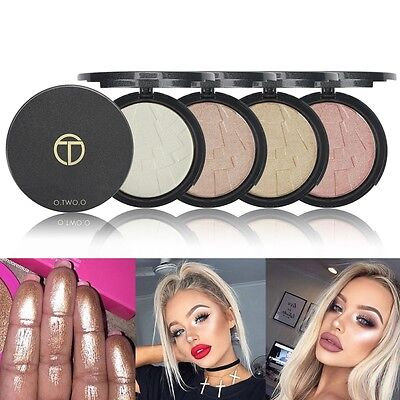 4 Colors Makeup Face Eye Highlight Powder Palette Shimmer Highlighter Cosmetic m