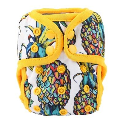 2018 NEWBORN Cloth Diaper Cover Baby Nappy Reusable 8-10lbs 2 Gusset Pineapple