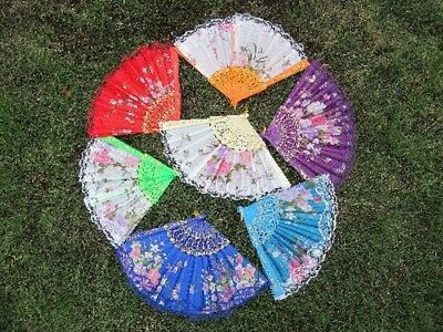 12X Embroidered Flower Folding Fans Hand Fans Mixed