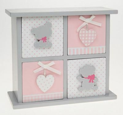 Tiny Ted 4 Drawer Chest Pink & Grey Small Square Unit