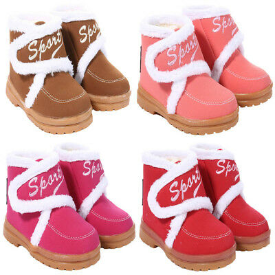 Kids Girls Boys Faux Fur Winter Warm Ankle Snow Boots Trainers Shoes