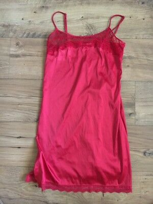 Ladies Red Lace Size 10 Lovable Night Slip Lingerie Preloved