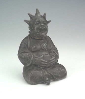 Vintage Chinese Oriental Buddha Form Spelter Cigarette Lighter - Art Deco!