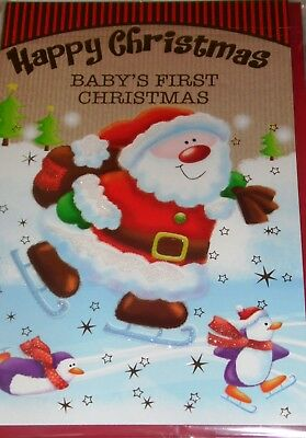 """BABY'S 1ST CHRISTMAS CARDS x6, 39p! SUPERSIZE CODE 150, 11""""x7"""", WRAPPED (B312"""