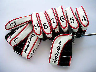 NEW SET OF 10 x TAYLORMADE IRON COVERS FOR ULTIMATE PROTECTION ZIP CLOSURE RED
