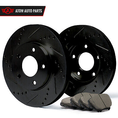 2006 2007 2008 Lexus IS250 (BLACK) Slot Drill Rotor Ceramic Pads Front