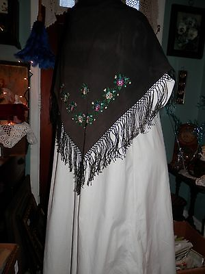 """Antique Black Victorian Hand Embroidered Fringed Shawl 29"""" Square"""
