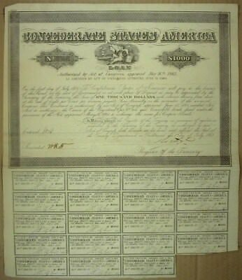 1864 Confederate States Of America $1000 Bond Cr#165 19 Coupons Attached  Rare!
