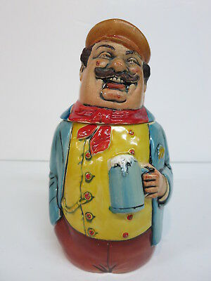 Figural Character Pottery Beer Stein Happy Man Artist Businessman  HP