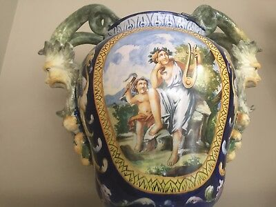 """Antique Italian Majolica 14"""" Vase / Urn Late 18Th Early 19Th Century"""