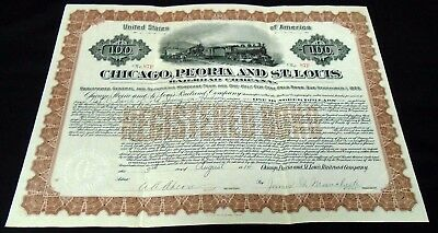 1914 Chicago, Peoria & St.Louis Railroad Company Registered Gold Bond $100