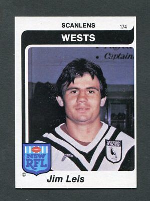 "Scanlens Gum 1980 ""rugby League - #174 Jim Leis (Wests)"" Rare Trade Card"