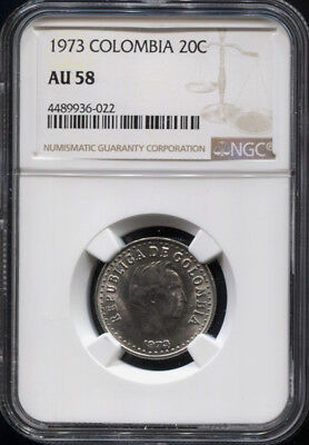 Tt 1973 Colombia 20 Centavos Santander Ngc Au 58 - Well Struck Beautiful Coin!