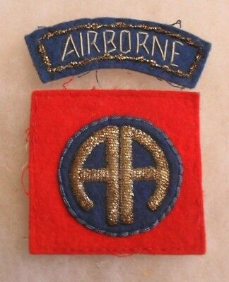 Rare Bullion 82 Abn Patch & Tab Orig Set Of Theater Made Pr Slight Use Off Ike