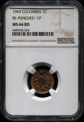 "Tt 1969 Colombia 1 Centavo Re-Punched ""19"" Ngc Ms 66 Rd Sole Coin Certified!"