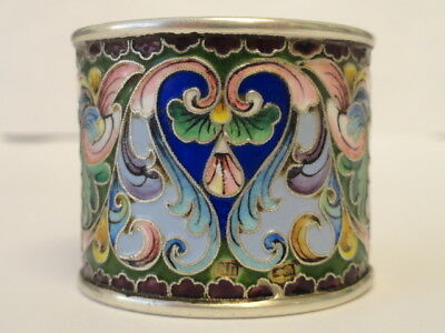 Antique Russian silver 84 cloisonne shaded enamel napkin ring. 51 grams