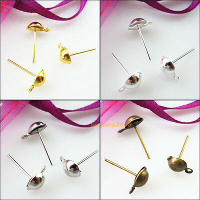 100 Gold Dull Silver Bronze Plated Half Ball Stud Earring Posts Earwire 6x13mm