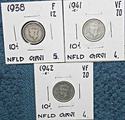 6 Newfoundland .925 Silver 10 Cent Coins 1938-1944 FREE SHIPPING