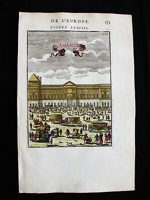 1683 MALLET - FRANCE, Orig. rare VIEW of the PALACES & MUSEUM of LOUVRE in PARIS