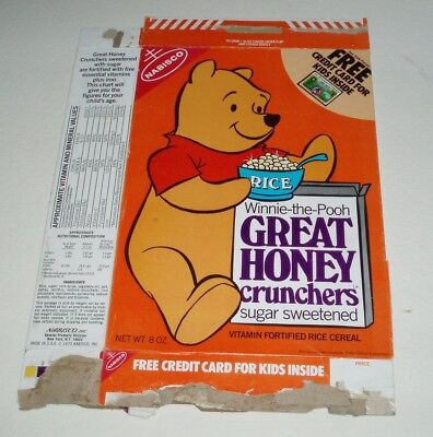 1970's Nabisco RICE Great Honey Crunchers Cereal Box w/ Winnie the Pooh