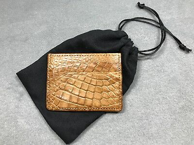 New Handmade Genuine Natural Cognac Alligator Slim Card Holder
