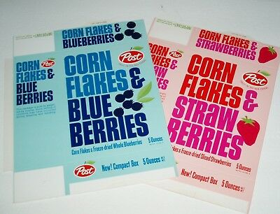1960's Post Corn Flakes & Blueberries & Strawberries cereal box lot