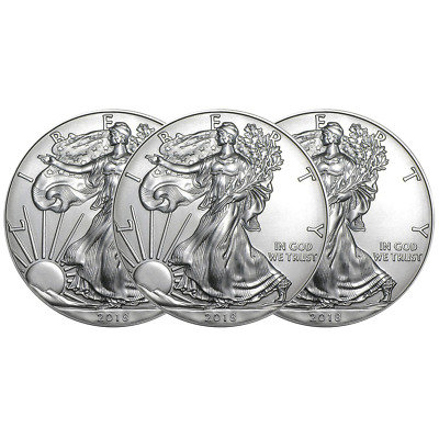 Lot of 3 - 2018 $1 American Silver Eagle 1 oz Brilliant Uncirculated
