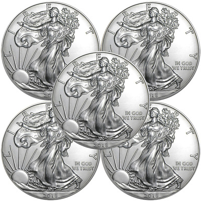 Lot of 5 - 2018 $1 American Silver Eagle 1 oz Brilliant Uncirculated