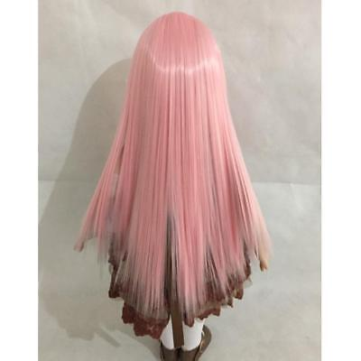 38CM Long Straight Hair Wig for 18'' American Girl Dolls DIY Making Pink