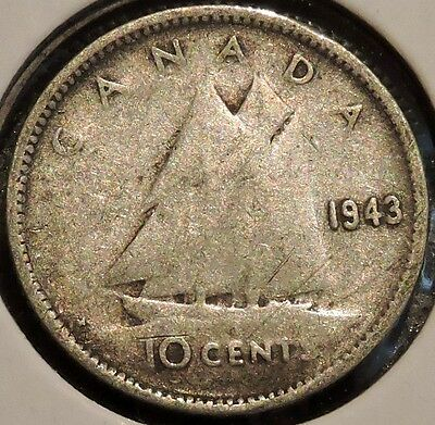 Canada Dime - 1943 - King George VI - $1 Unlimited Shipping