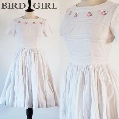 Flower Trim 50S Vintage White Smocked Stripe Cotton Full Circle Swing Dress 8 Xs