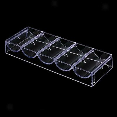 Stackable Party Casino Game Acrylic Poker Chip Tray 5 Row - 100 Chips Holder