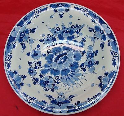 "Vintage Delft Blauw Regina Floral Hand Painted Serving Dish Bowl Holland 9"" Inch"