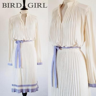 Carre 1970S Vintage Cream & Purple Striped Pleated Jersey Bho Dress 12