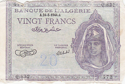 20 Francs Vg-Poor Banknote From French Algerie 1944!pick-92