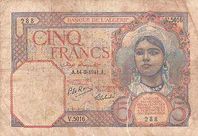 5 Francs Vg-Poor Banknote From French Algerie 1941!pick-8