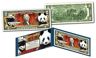 LUCKY PANDA Genuine Legal Tender $2 Bill U.S. Chinese Lucky Money w/ Folio & COA