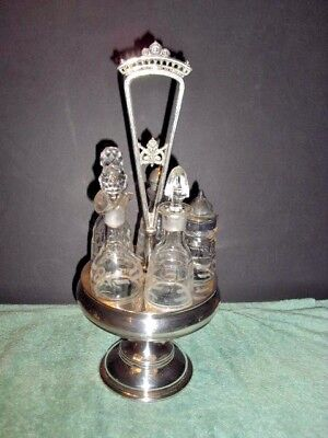 Vintage Victorian Silver Plated Turn Style Cruet Condiment Set 5 Glass Jars
