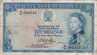 10 Shillings Fine Banknote From Rhodesia 1964!pick-24!extra Rare